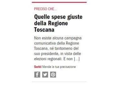 L'Espresso, Quelle spese giuste della Regione Toscana
